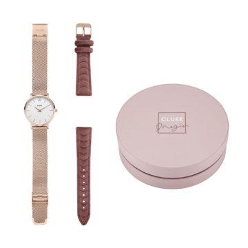Minuit rose gold mesh watch with pink velvet strap Negin gift box diamond jewellers set 2