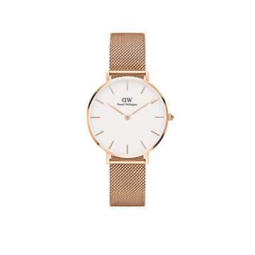 rose gold plated case and mesh strap ladies daniel wellington watch diamond jewellers