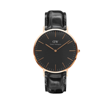 rose gold plated case on black leather daniel wellington watch diamond jewellers
