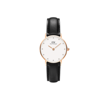 rose gold plated case on black leather ladies daniel wellington watch stoneset dial diamond jewellers