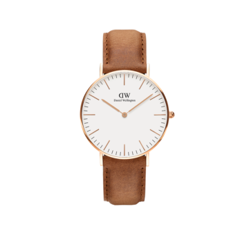 rose gold plated case on brown leather strap daniel wellington watch diamond jewellers