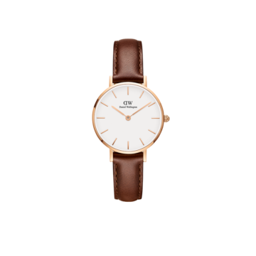 rose gold plated case on brown leather strap ladies daniel wellington watch diamond jewellers