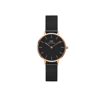 rose gold plated case with black mesh strap ladies daniel wellington watch diamond jewellers