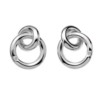 hot diamond earrings sterling silver two interlocking circles diamond jewellers
