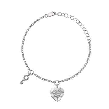 hot diamonds sterling silver heart and key bracelet with diamond diamond jewellers