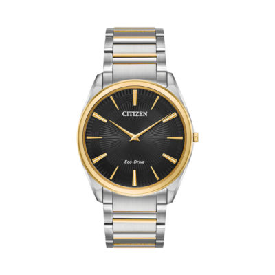 Chrome-bracelet-with-gold-colour-slim-case-Citizen-eco-drive-diamond-jewellers-watch