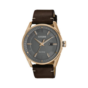 rose-gold-colour and-brown-leather-Citizen-eco-drive-watch-diamond-jewellers