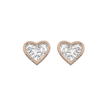 silver sterling heart shaped earrings