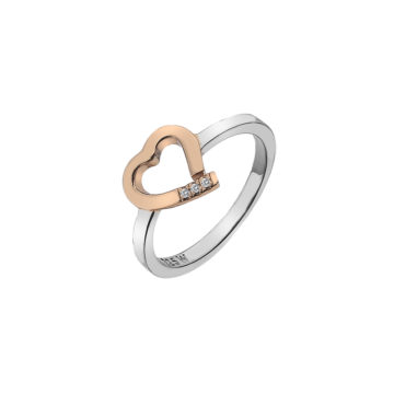 sterling silver rose gold heart ring