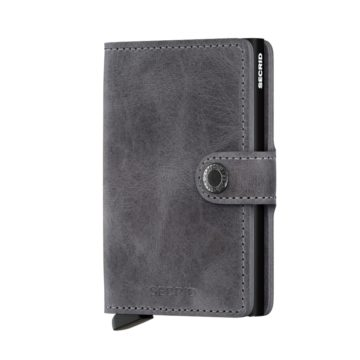 vintage grey leather rfid credit card holder
