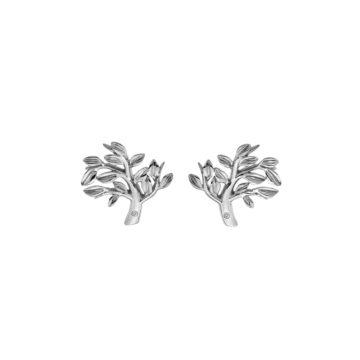 tree of life silver hot diamonds earrings