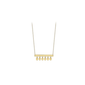 9ct yellow gold bar pendant with discs