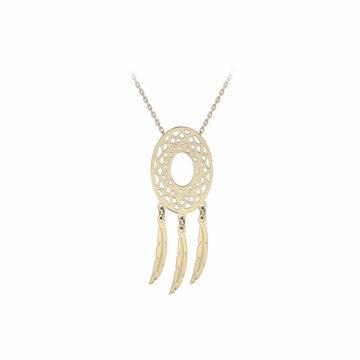 9ct yellow gold dreamcatcher pendant