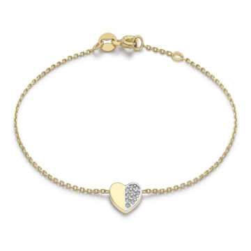 9ct yellow gold stoneset heart bracelet