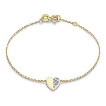 9ct yellow gold stoneset heart bracelet