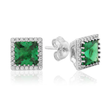 waterford silver earrings emerald centre white surround including box john swan jewellers