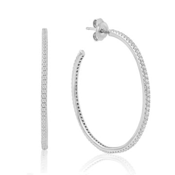 waterford silver earrings white 40 mm cubic zirconia hoops john swan jewellers