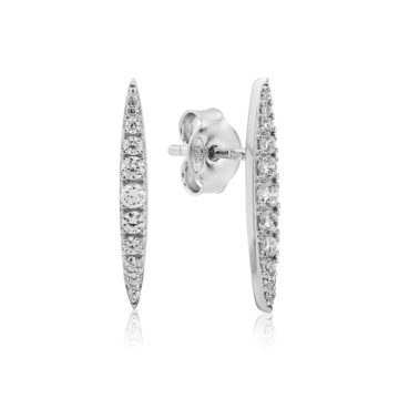 waterford silver narrow pointed stone earrings john swan jewellers