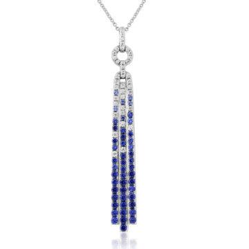 waterford silver pendant art deco sapphire cubic zirconia long drop john swan jewellers