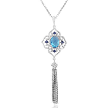 waterford silver pendant ornate multi blue topaz tassle john swan jewellers