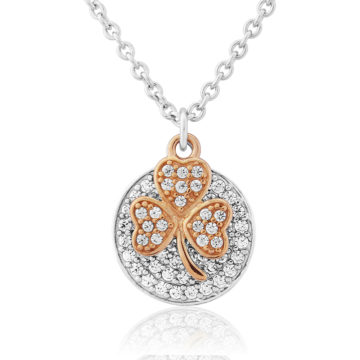 waterford silver pendant rose gold shamrock stone disc john swan jewellers