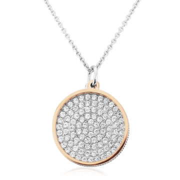 waterford sterling silver pendant open rose gold white cubic zirconia box john swan jewellers