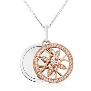 waterford sterling silver pendant rose ornate front double disc john swan jewellers