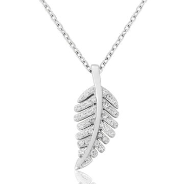 waterford sterling silver pendant white cubic zirconia leaf john swan jewellers