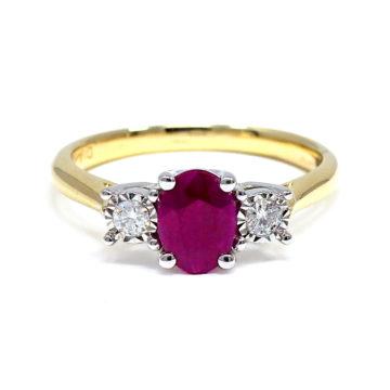 Yellow gold ruby and diamond ring john swan jewellers arklow
