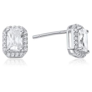 waterford silver emerald cut earrings white cubic zirconia john swan jewellers arklow
