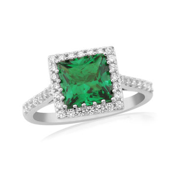 waterford silver ring square emerald centre white surround john swan jewellers arklow