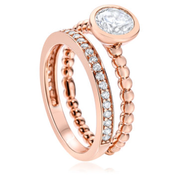 waterford silver rose gold plated beaded rubover ring john swan jewellers arklow