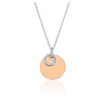 waterford silver rose gold plated disc floating cubic zirconia pendant john swan jewellers