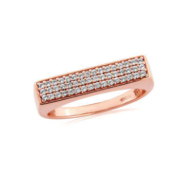 waterford silver rose gold rectangle stone set ring john swan jewellers