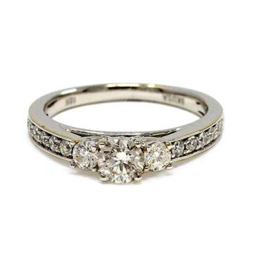 18ct white gold 3 diamond engagement ring john swan jewellers arklow
