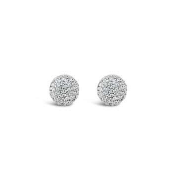 Earring silver medium pave stud cz