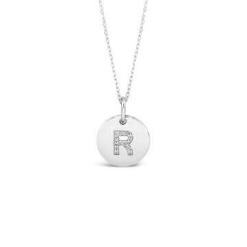 Initial R sterling silver circle pendant & necklace
