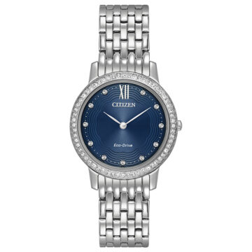 Citizen Eco Drive Ladies Watch Silhouette style Blue Dial Stone Set john swan jewellers